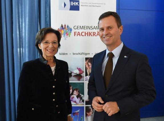Die Gastgeber: Familienministerin Emilia Müller und Dr. Manfred Gößl, stv. Hauptgeschäftsführer der IHK für München und Oberbayern